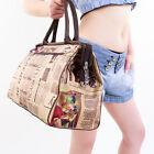 Retro Newspaper Print Travel Handbag Duffle Bag Gym Tote Luggage Shopping Bag