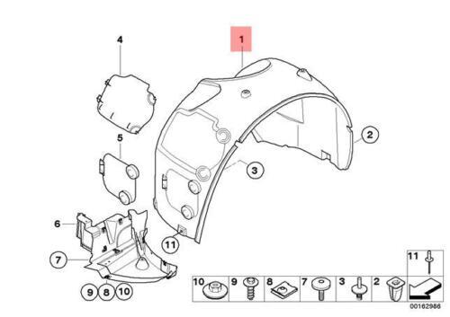 Genuine BMW E85 E86 Wheel Liner Splash Shield Left Front OEM 51717012727