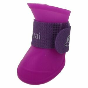 Purple M, Pet Shoes Booties Rubber Dog Waterproof Rain Boots M4K6