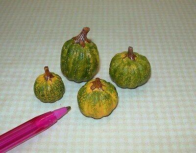 Miniature Green Resin Pumpkins (Set of 4) : DOLLHOUSE Autumn 1/12 Scale