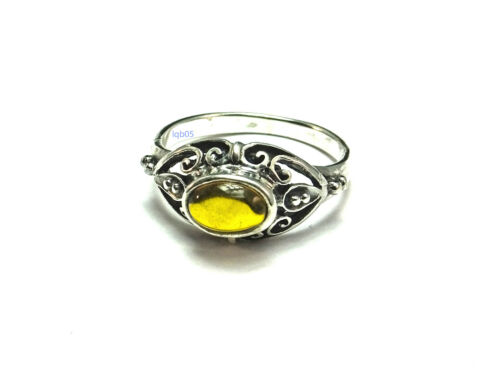 New Ladies Sterling Silver Oval Amber Fancy Ring 10mm UK Sizes 925 Hallmarked