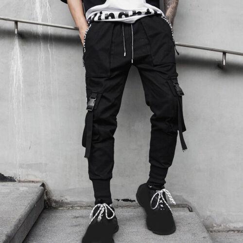 Mens Cargo Pants Harem Hip Hop Joggers Streetwear Sweatpants Trousers Bottoms