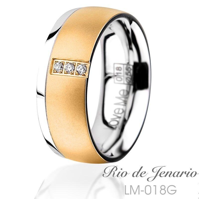 Anello di fidanzamento domanda Anello in Acciaio Acciaio Acciaio Inox oro con Zirconi Anello incisione laser 018gd dd381a