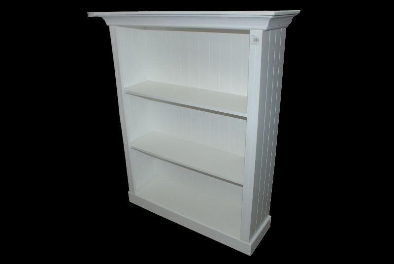 *MAIDSTONE FURNITURE* BOOKCASES LARGE IN LIGHT STONE, WHITE OR FRENCH GREEN 104cmH x 114cmW x 37cmD