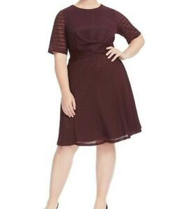 London-Times-Burnout-Stripe-Jersey-Fit-And-Flare-Dress-Size-6