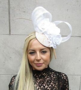 White Beige Gold Rose Flower Feather Hat Hair Fascinator Races ... 1e6b7d4f893