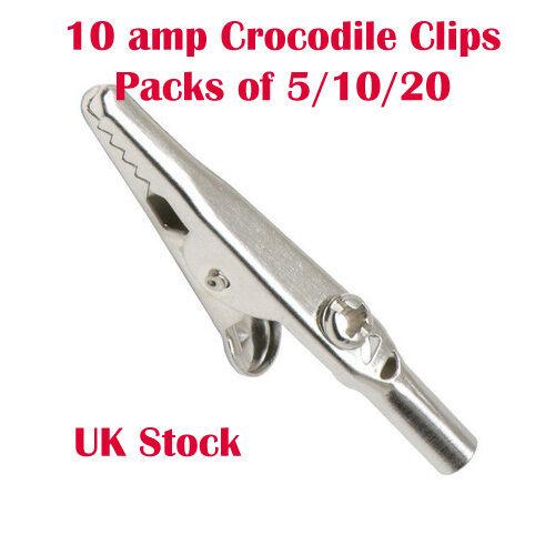 10 o 20 10amp Pinzas Cocodrilo Para Puntas De Prueba Cocodrilo Clip Batería Pack de 5