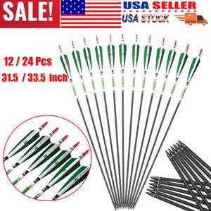 "31/""//33/"" SP500 Archery Carbon Arrow Real Shaft Turkey Feather F Recurve Bow Hunt"