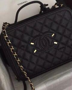 5f417474b262 Image is loading BNIB-Chanel-Filigree-Vanity-Case-Large-Black-gold-