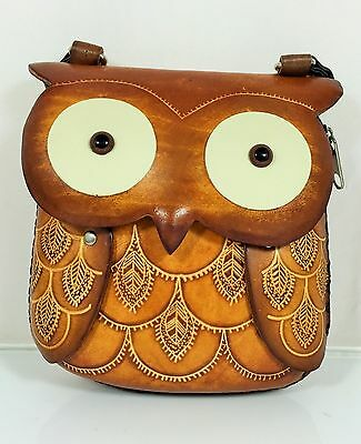 New Genuine Leather Owl Purse Shoulder