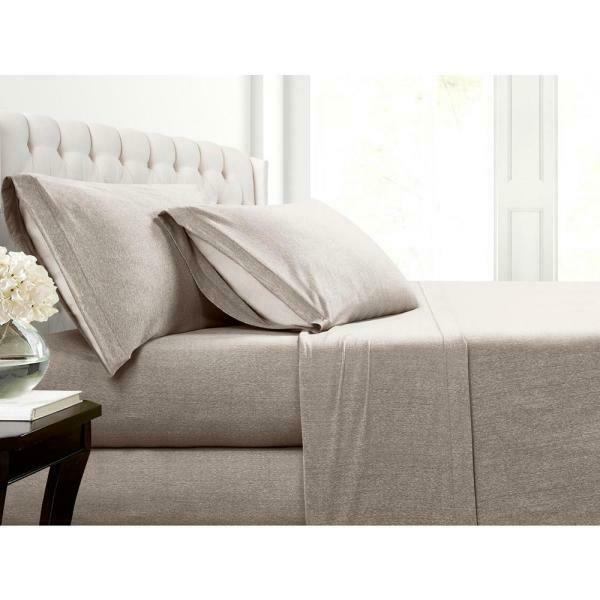 NEW Taupe Beige Jersey Queen Sheet Set Morgan Home 4pc Set 100% Polyester