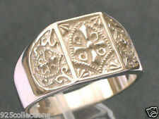 925 Sterling Silver Knights Templar Crest No Stone High Polish Men Ring Size 9