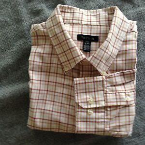 Van-Heusen-Mens-Large-16-16-1-2-Brown-Plaid-Long-Sleeve-Dress-Shirt