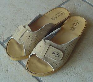 Ciabatte-donna-beige-pelle-marca-Clary-tacco-zeppa-2-4-cm-n-40-NUOVE