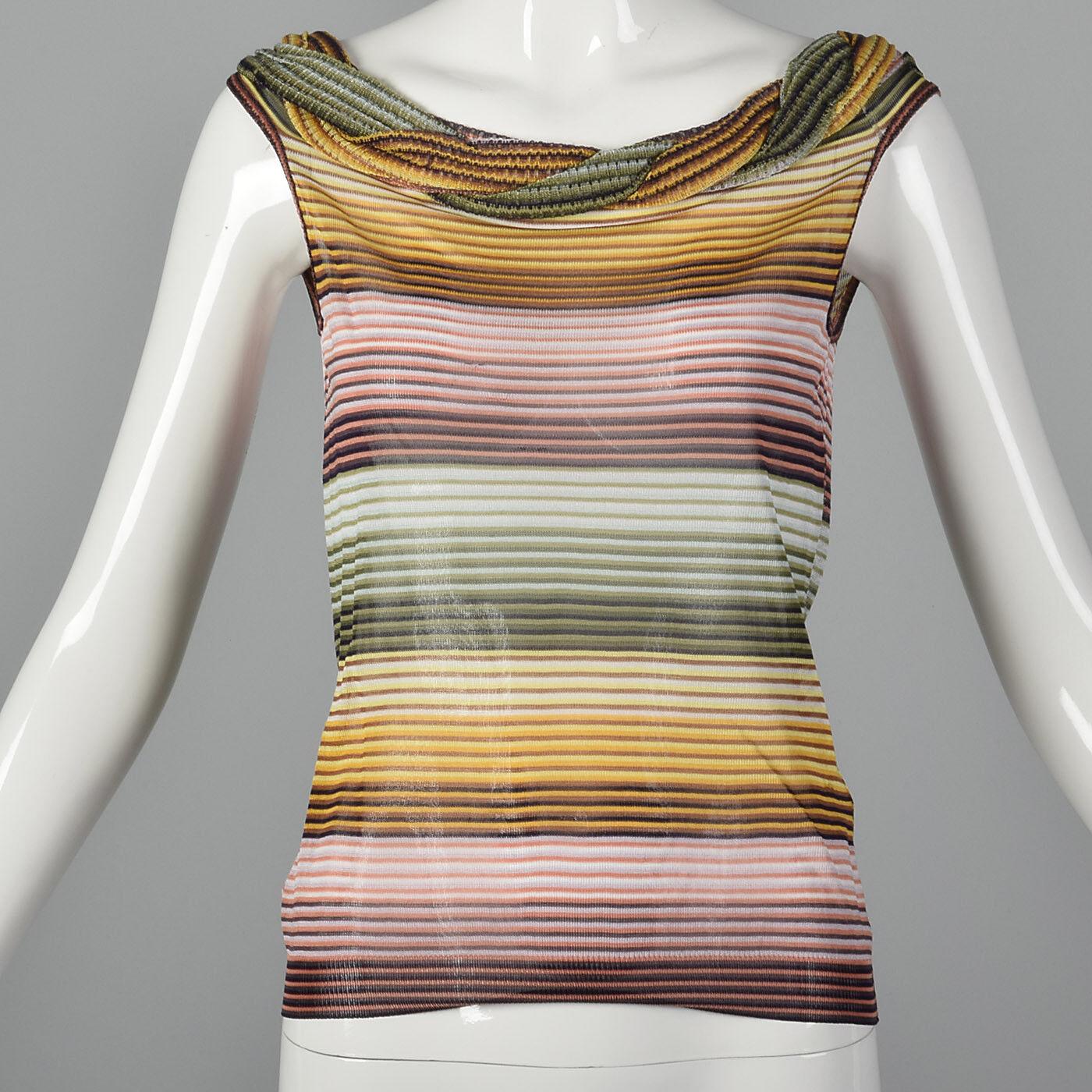 XS 1980s Missoni Knit Stripe Top Lightweight Sheer VTG Multi Farbe Stripes