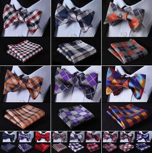 Men-039-s-Classic-Plaids-Bow-Tie-Self-Tie-Silk-Bowtie-Pocket-Square-Set-Wedding-R01