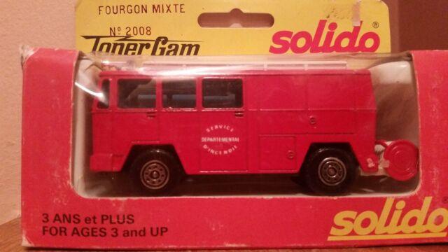 Solido Toner Gam II Fourgon Mixte Fire Truck, # 2008, 1:55, Die-cast Metal-NIB