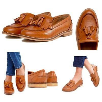 Womens Ladies Leather Tassel Loafers