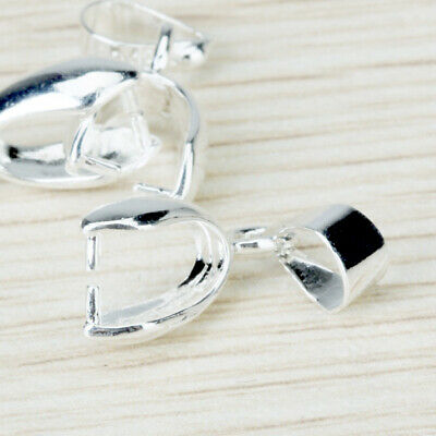 10pcs Silver Plated Charm Pendant Pinch Clip Bail Connector DIY Jewelry Findings