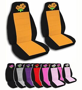 2 Front Hibiscus Flower Velvet Seat Covers With 12 Color