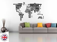WORLD MAP Wall Sticker Art Decal Vinyl Office Countries Words HUGE DOUBLE SIZE