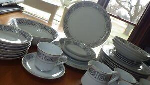 China Dinnerware Fontain by Carlton Japan Black White design service 4 plus 34 p