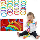 24x Rainbow Teether Ring Links Plastic Baby Kids Infant Stroller Gym Play Toys