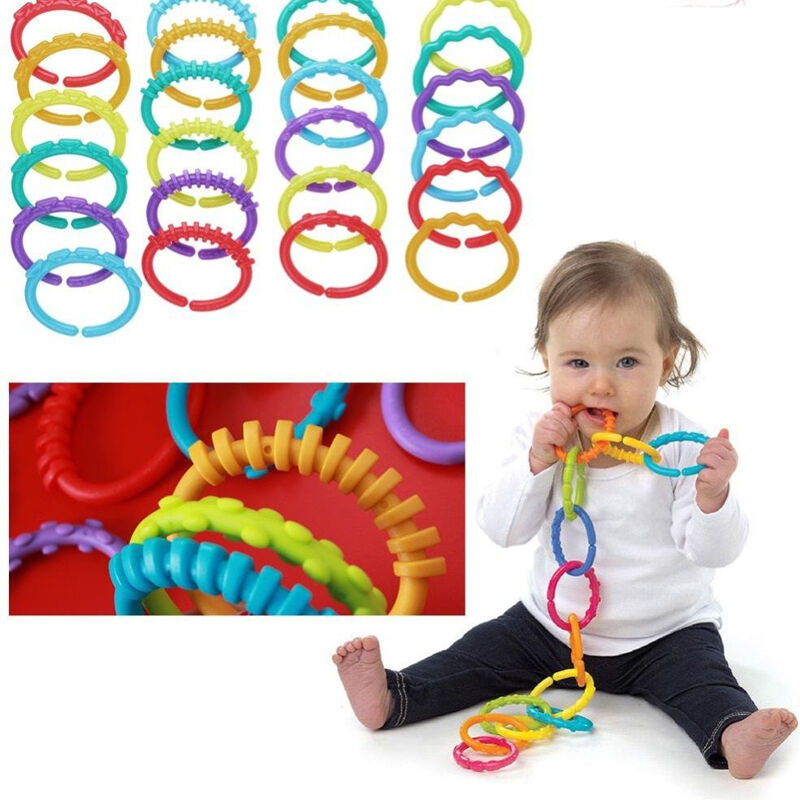 24Pcs Silicone Plastic Baby Kids Infantile Rainbow Ring Gear Ring Play Mat Toys
