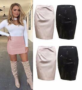 Ladies-Womens-Celebs-PU-Wet-Look-PVC-Leather-Zip-Back-Pencil-Mini-Party-Skirt