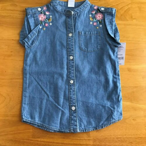 New Carter/'s Chambray Sleeveless Embroidered Shirt Top Sizes 4,5,6 MSRP $24