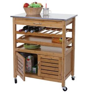 Chariot-hwc-d15-Bar-Assistant-de-cuisine-Bambou-en-acier-inoxydable-plaque-89x70x37cm