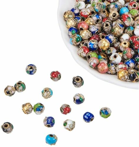20 pcs 8mm Handmade Vintage Round Loose Cloisonne Beads Mixed For Jewelry Making