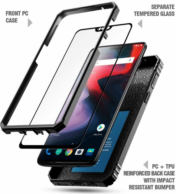 best sneakers 5dc2e 0a435 OnePlus 6 Rugged Case Poetic Revolution Heavy Duty Cover W/ Tempered Glass  Black