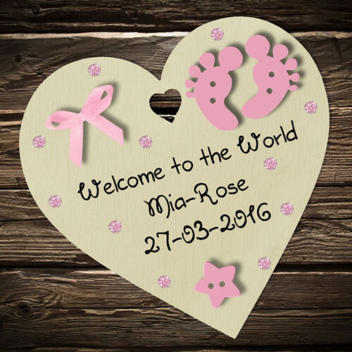 Personalised New Baby Girl Boy Wooden Heart Gift Plaque or Magnet Keepsake