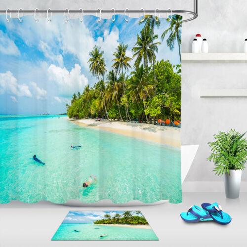 Tropical Sea Beach Swimming Shower Curtain Set Bathroom Waterproof Fabric Hooks