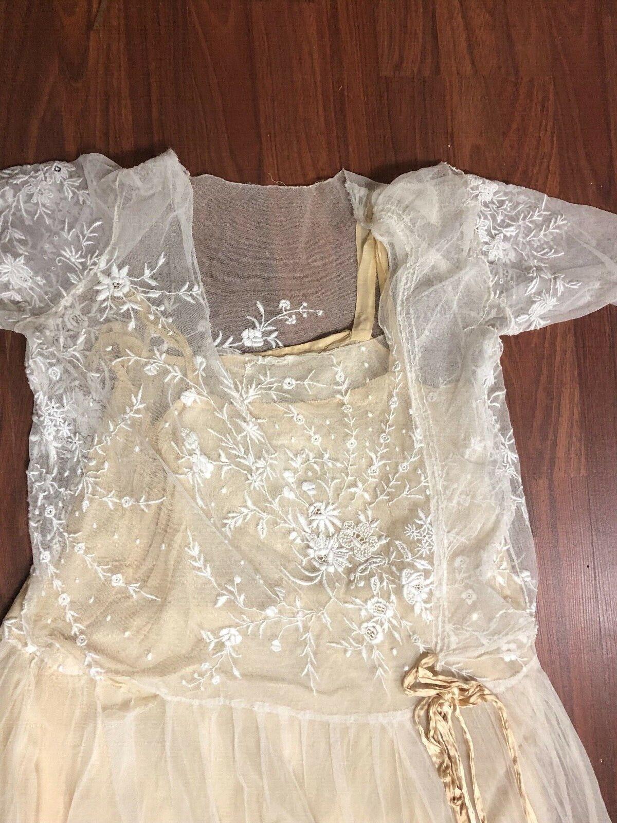 Antique Edwardian White Mesh Dress with Floral Em… - image 4