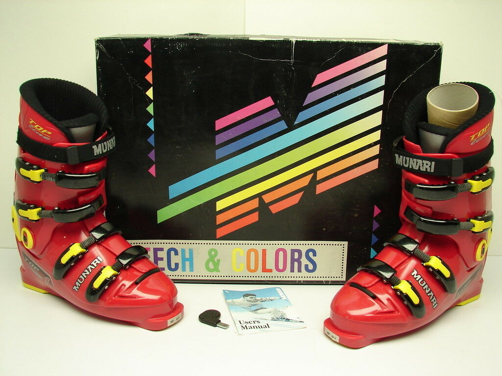 Vintage NOS Munari Top 1 Downhill Ski Boots Size 9 Red Yellow Retail