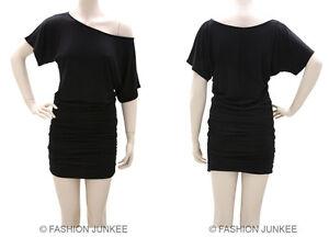 af2a75e465cc9c C3 BLACK RUCHED OFF the shoulder DRESS Short Sleeve Jersey Tunic Top ...