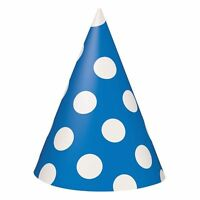 8 Mickey Minnie Mouse Blue Polka Dot Birthday Cone Hat Party Supplies Decoration
