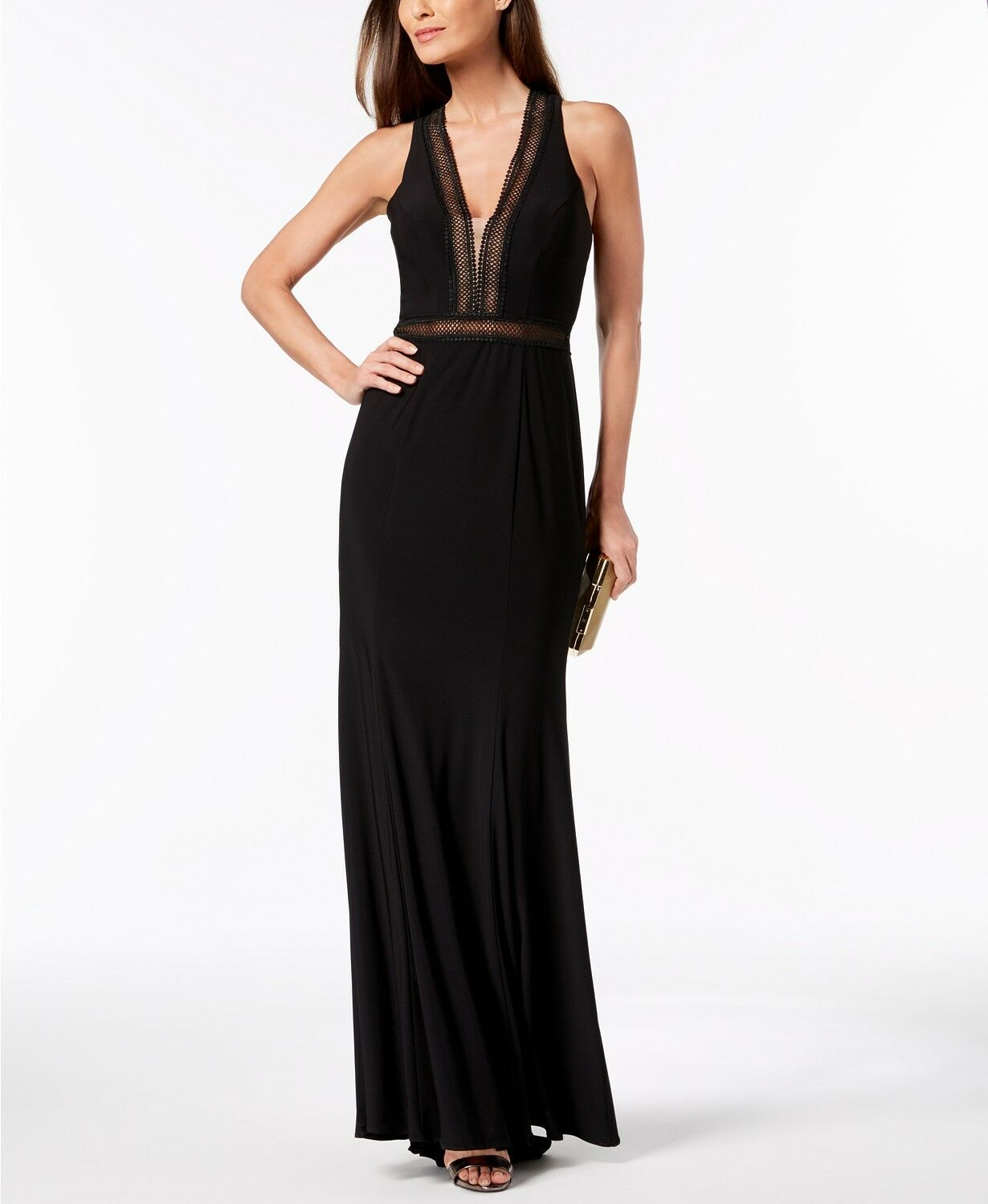 XSCAPE Crochet Illusion Gown MSRP  209 Size 2 A 283 NEW