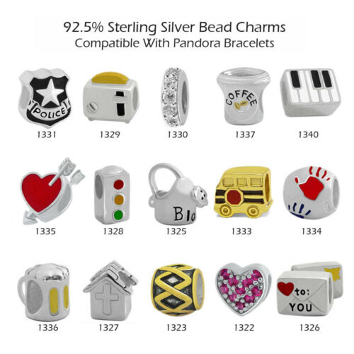 925 Sterling Silver Charm Beads for European Charms Bracelet Collier 26-1340