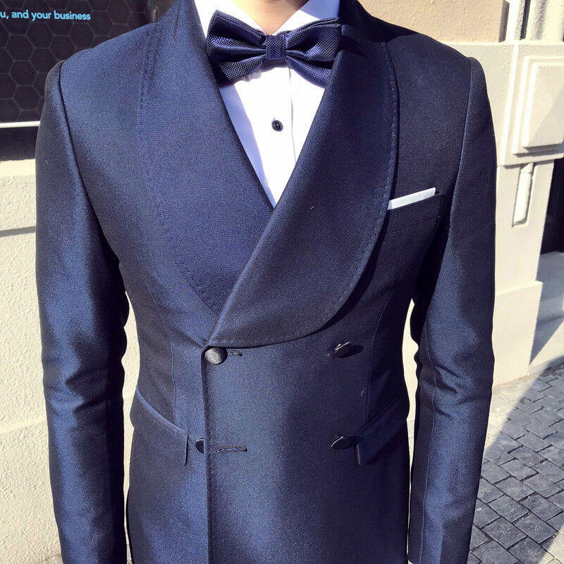 Men's Glossy Double-breasted 3 Piece Suits Lapel Formal Groom Wedding Tuxedos
