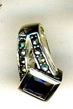 "925 Sterling Silver Faux Sapphire &  Marcasite Pendant Length   5/8"""