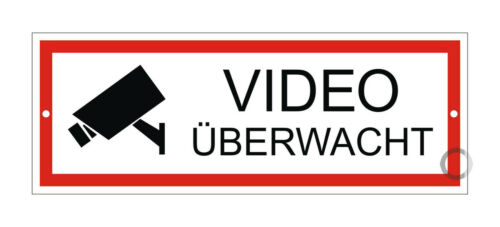 Schild Videoüberwacht Videoüberwachung Wetterfest UV-Beständig Gelocht 175x65mm