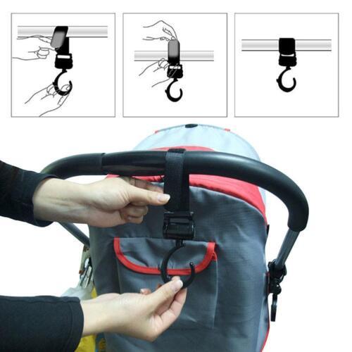 Poussette Crochet multifonction 2Pcs Swivel Hooks Hanger pour bébé landau poussette Kim