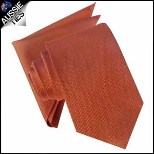 Burnt-Orange-Mens-Tie-with-Matching-Pocket-Square-Handkerchief-Hanky-Napkin