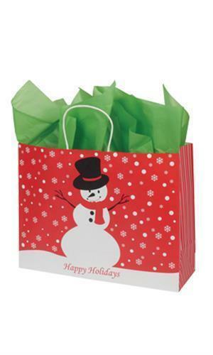 """25 Paper Bags Snowman Winter Christmas Shopping 16/"""" x 6 x 12 ½/"""" Large Gift Vogue"""
