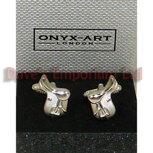 Mens Silver Horse Riding Rider Saddle Cufflinks /& Gift Box By Onyx Art