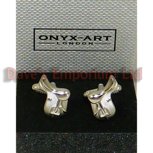 Horse Saddle Cufflinks by Onyx Art - Gift Boxed - Rider Equestrian Racing