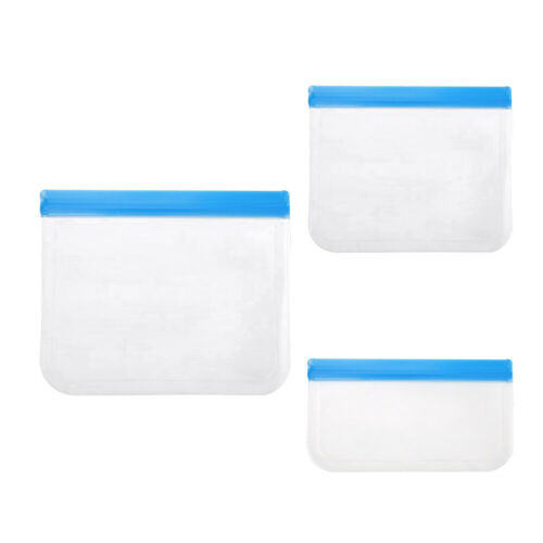 S M L REUSABLE SILICONE FOOD STORAGE BAGS ZIPLOCK SNACK MEAT FREEZER LUNCH BAG